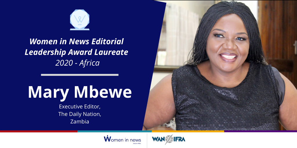 Mary Mbewe accepts the 2020 Editorial Leadership Award for Africa
